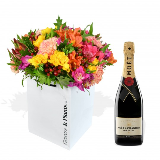 colourful bouquet with champagne