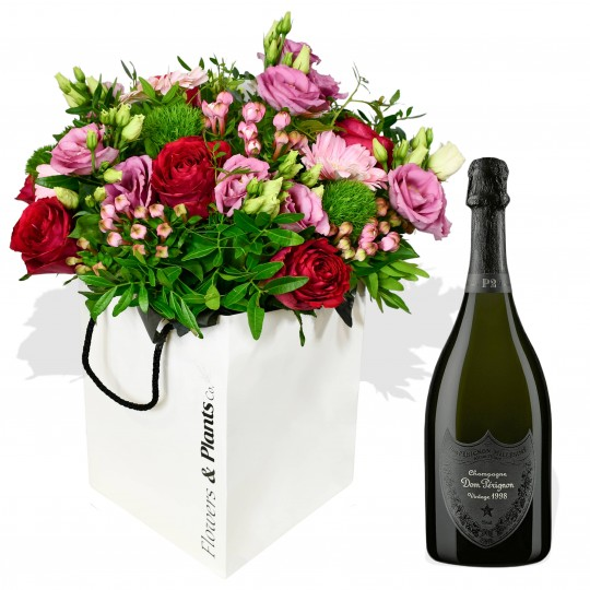 roses bouquet with Dom Perignon champagne